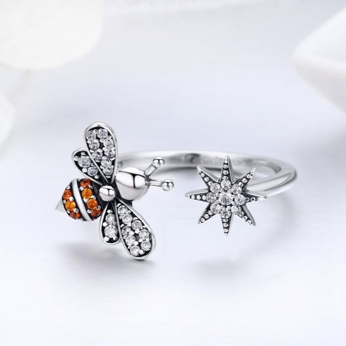 Inel reglabil argint cu albinuta si floare 5