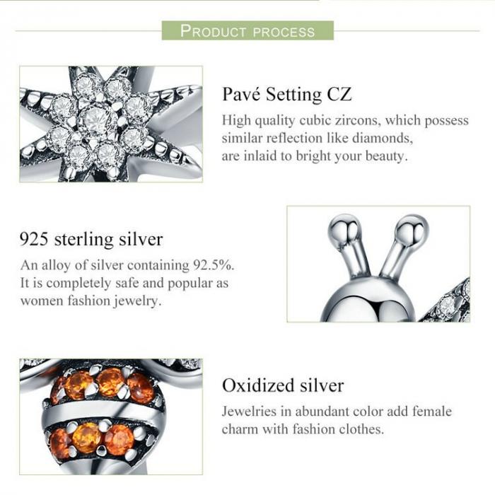 Inel reglabil argint cu albinuta si floare 7
