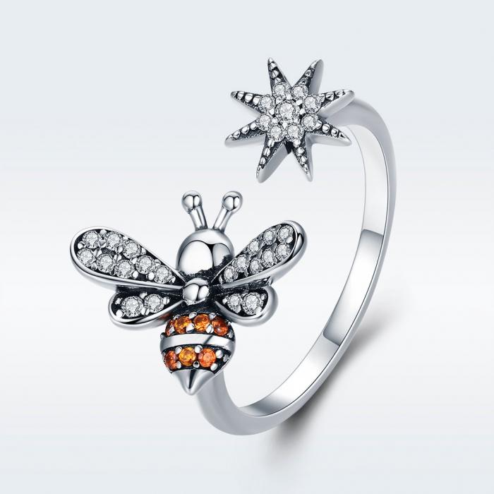 Inel reglabil argint cu albinuta si floare 2