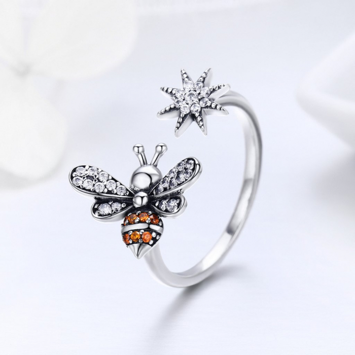 Inel reglabil argint cu albinuta si floare 3