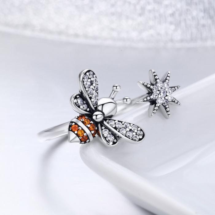 Inel reglabil argint cu albinuta si floare 4
