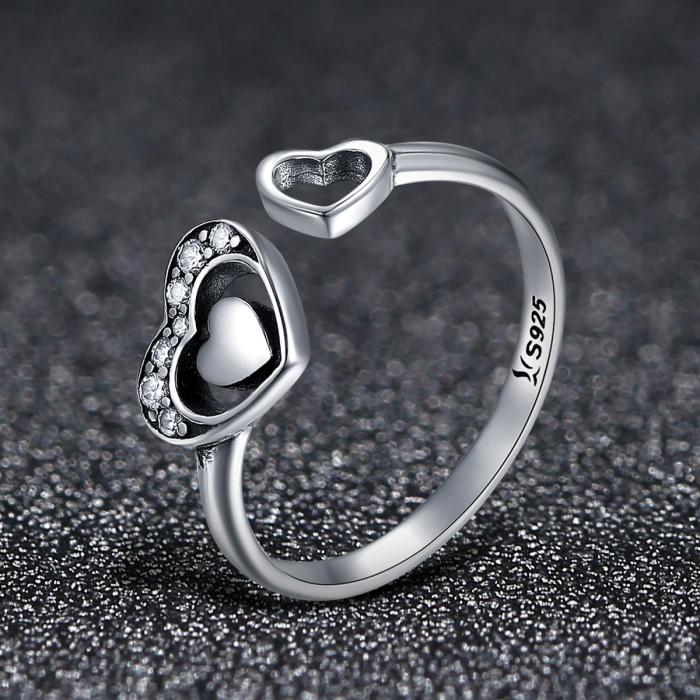 Inel reglabil argint cu inimioare  2