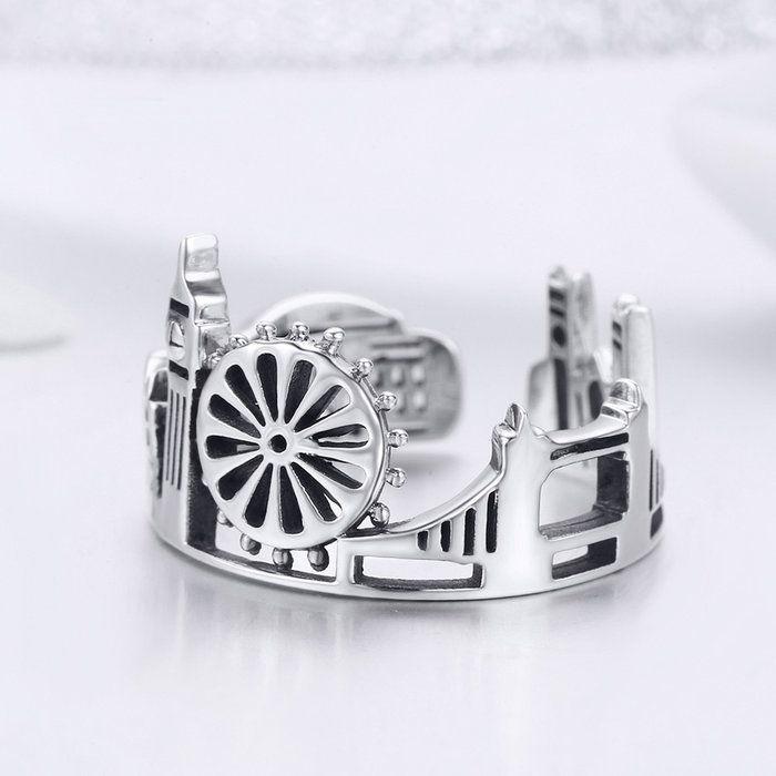 Inel reglabil argint London City 3