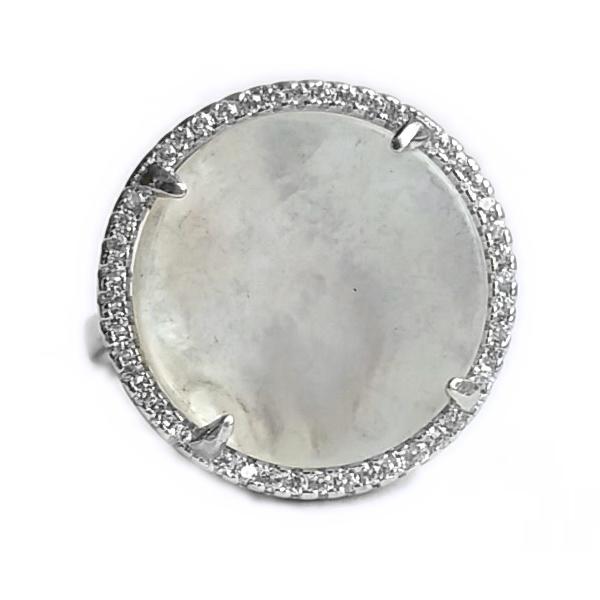 Inel reglabil din argint 925 elegant cu sidef si zirconii albe - INE0538 0