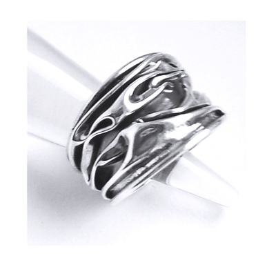 Inel reglabil din argint 925 model scoarta de copac INE0008 0