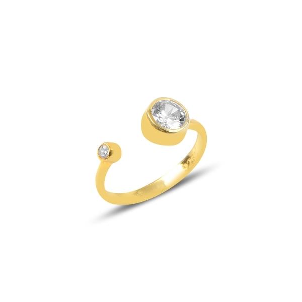 Inel reglabil din argint placat cu aur, cu zirconii albe 0
