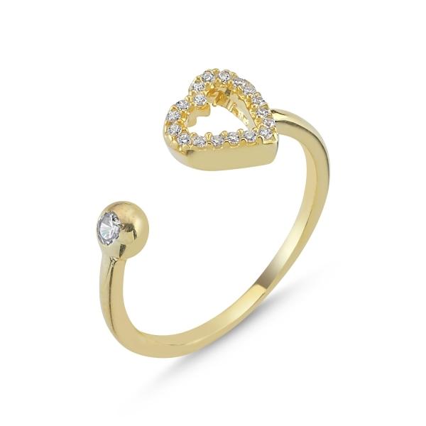 Inel reglabil din argint placat cu aur, cu zirconii albe si inimioara 0
