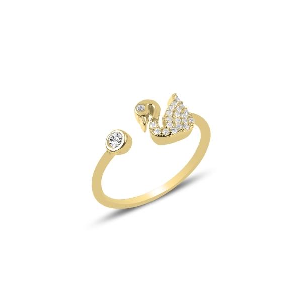 Inel reglabil din argint placat cu aur, cu zirconii albe si lebada 0