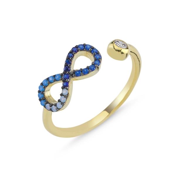 Inel reglabil din argint placat cu aur, cu zirconii in nuante albastre si Infinit 0