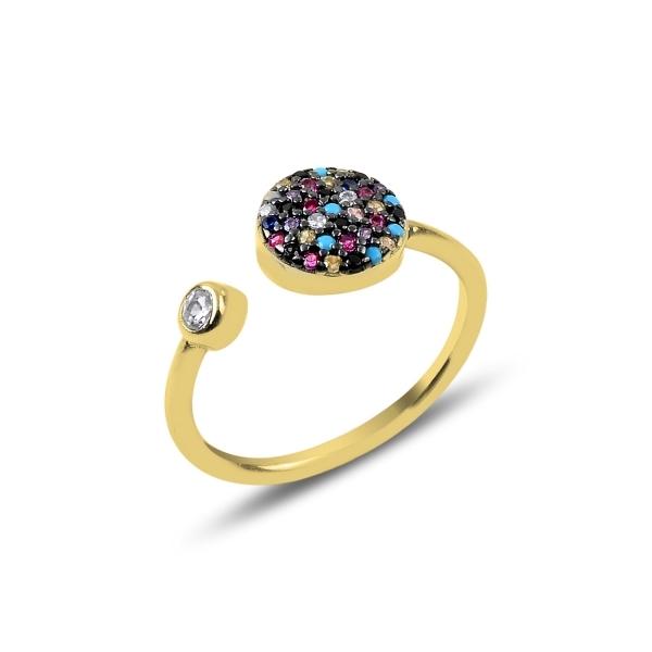 Inel reglabil din argint placat cu aur cu zirconii multicolore - Be Authentic 0