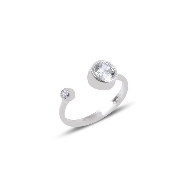 Inel reglabil din argint placat cu rodiu, cu zirconii albe 0