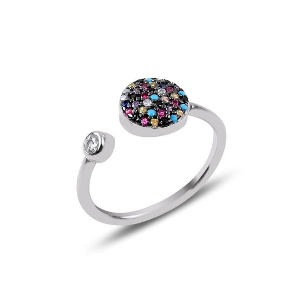 Inel reglabil din argint placat cu rodiu cu zirconii multicolore - Be Authentic 0