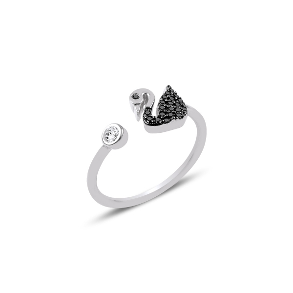 Inel reglabil din argint placat cu rodiu, cu zirconii negre si lebada 0