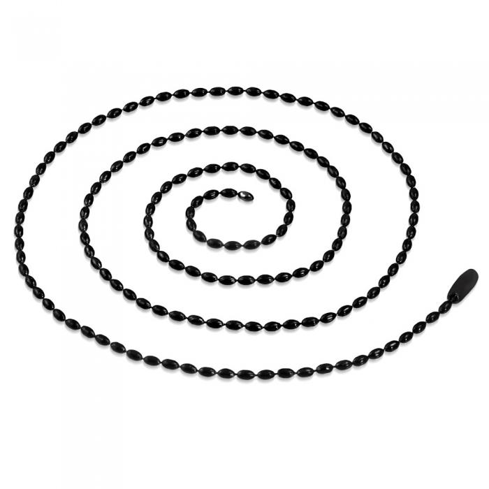 Lant inox army, militar, 2 mm si 60 cm cu bilute ovale 3