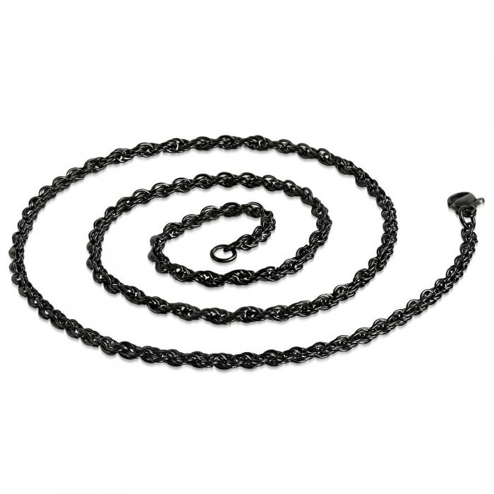 Lant negru inox sfoara 50 cm si 3 mm LSL0319 1