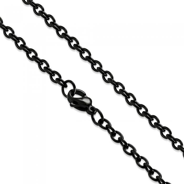 Lant negru inox cu zale ovale 60 cm si 3 mm LSL0324 0
