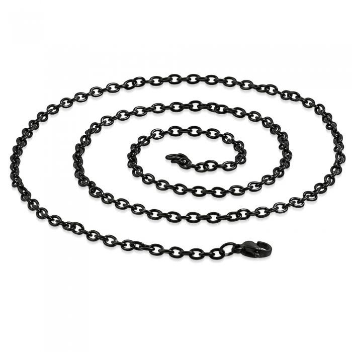Lant negru inox cu zale ovale 60 cm si 3 mm LSL0324 1