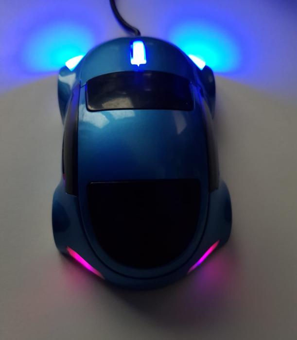 Mouse funny optic in forma de masinuta albastra 3