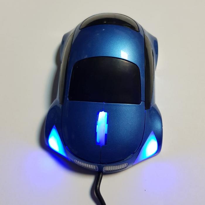 Mouse funny optic in forma de masinuta albastra 0