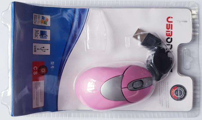 Mouse optic elegant roz cu mufa USB 4