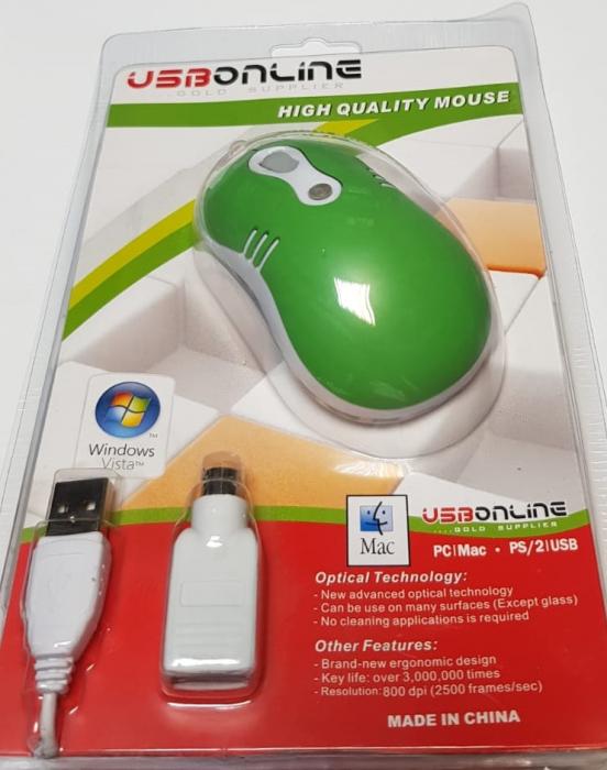 Mouse optic mini VERDE cu mufe USB si PS2 2