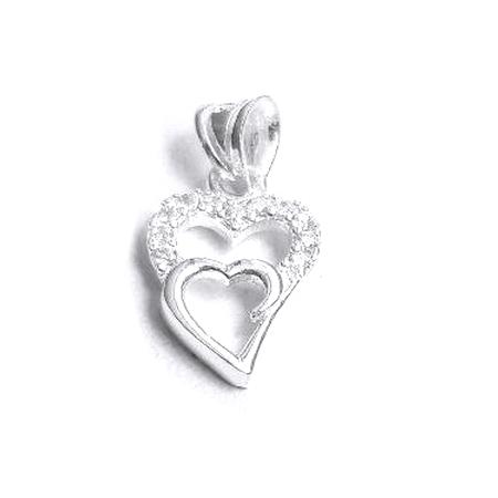 Pandantiv argint 925 cu doua inimioare BeSpecial.ro _PAN0700 0