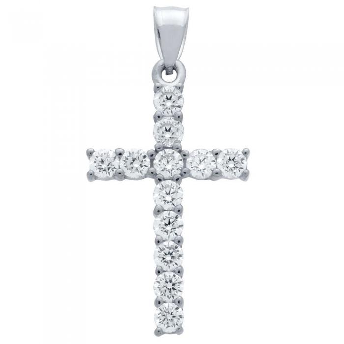 Pandant argint 925 rodiat in forma de cruce PSX0622 1