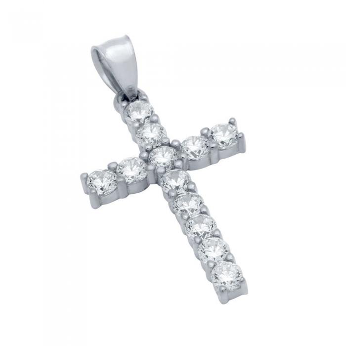 Pandant argint 925 rodiat in forma de cruce PSX0622 0
