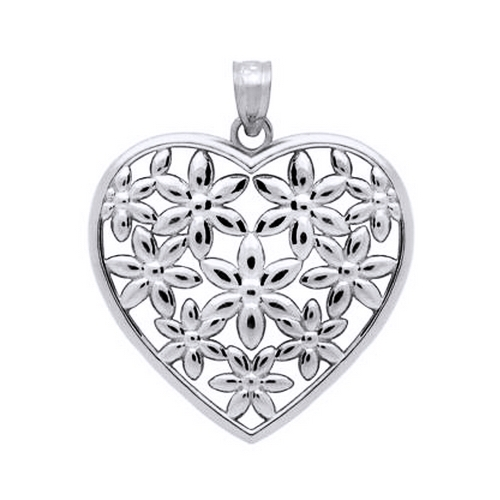 Pandant argint 925 rodiat inimioara cu floricele - Be Nature 0