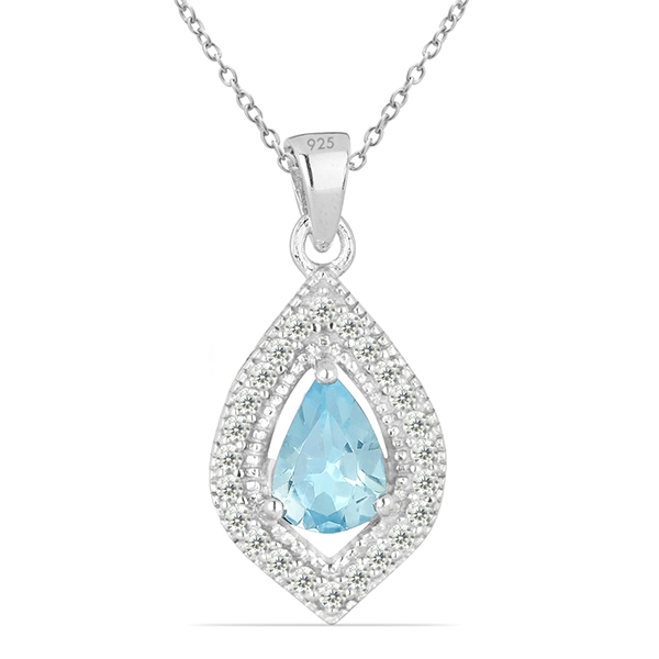 Pandant argint Anastasia, 925, cu topaz Sky Blue si zirconiu alb - PVA0007 0