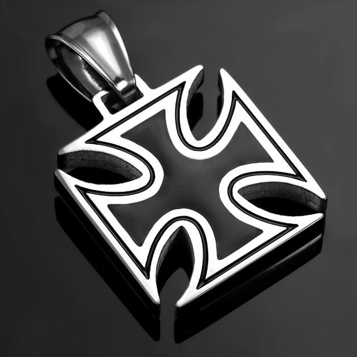 Pandant inox cruce in doua culori argintiu cu negru 2