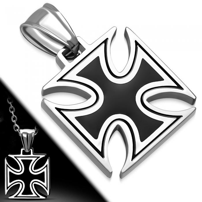Pandant inox cruce in doua culori argintiu cu negru 1