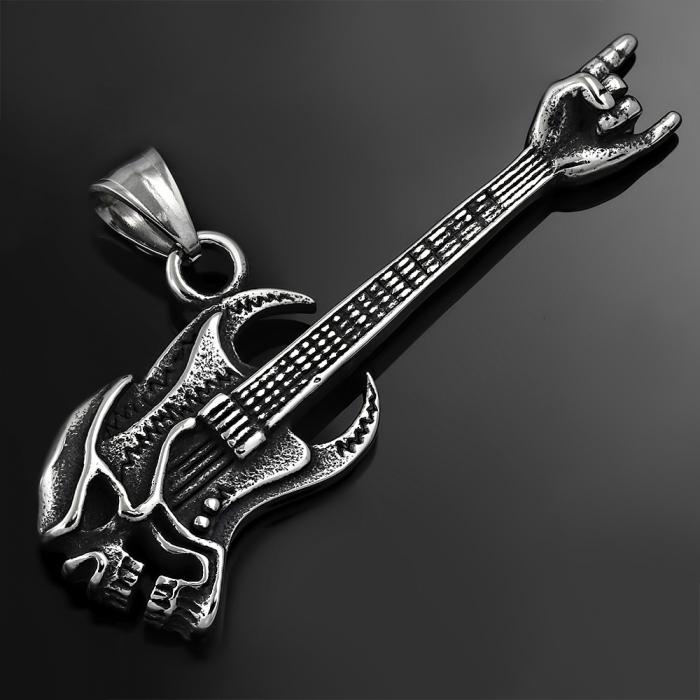 Pandant inox chitara electrica Skull Skeleton PSL1490 1