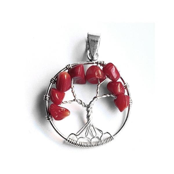 Pandantiv argint 925 copacul vietii cu pietre rosii 0