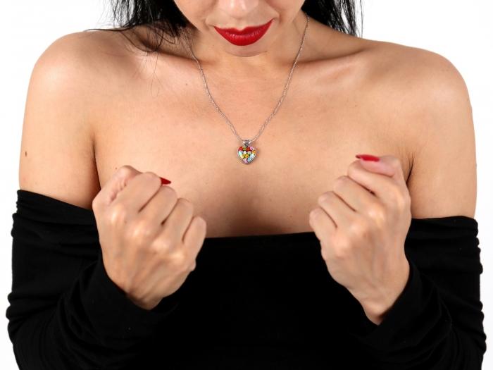Pandantiv argint 925 inimioara cu sticla Murano Millefiori PSX0574 - Be In Love 3