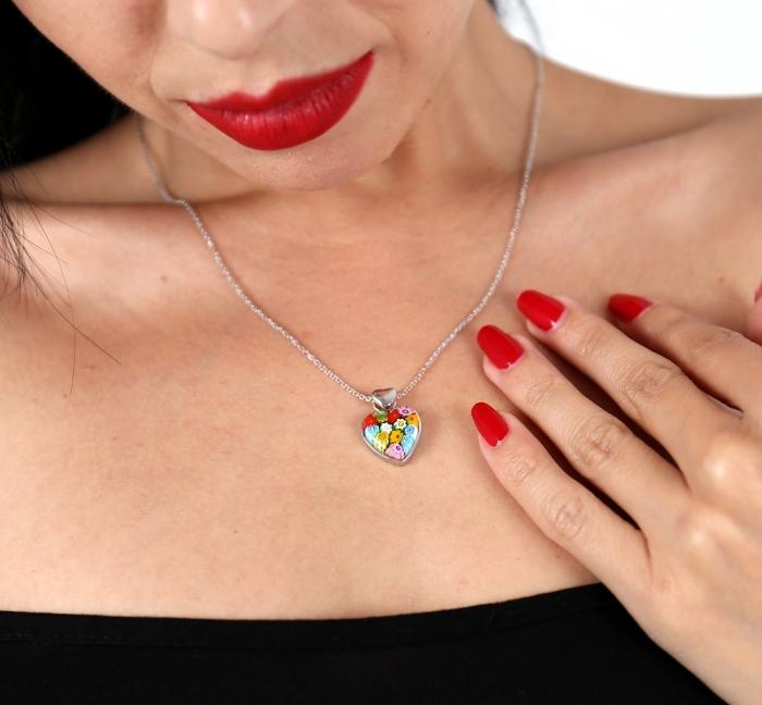 Pandantiv argint 925 inimioara cu sticla Murano Millefiori PSX0574 - Be In Love 2
