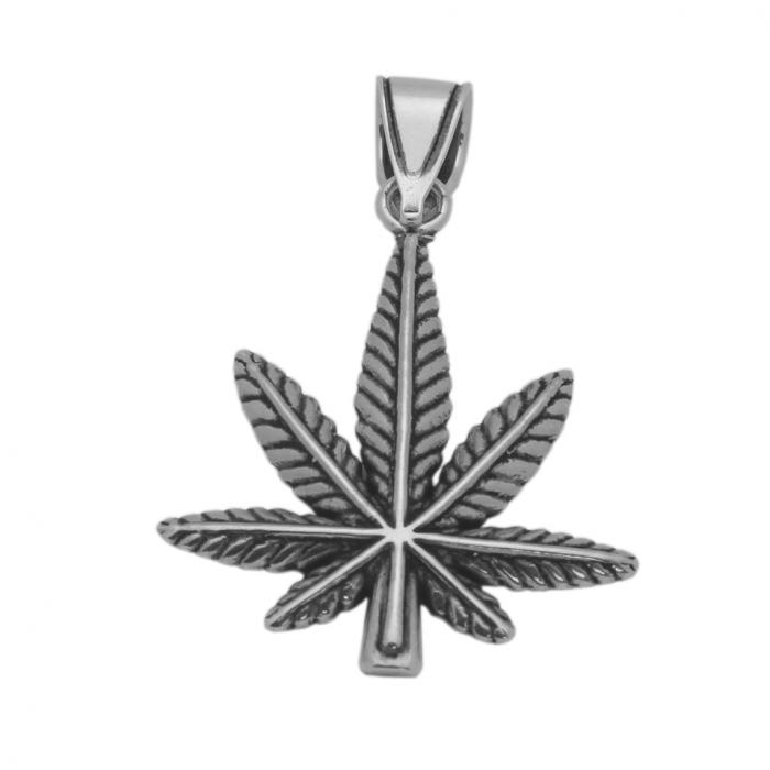 Pandantiv argint 925 oxidat frunza de marijuana PSX0629 0