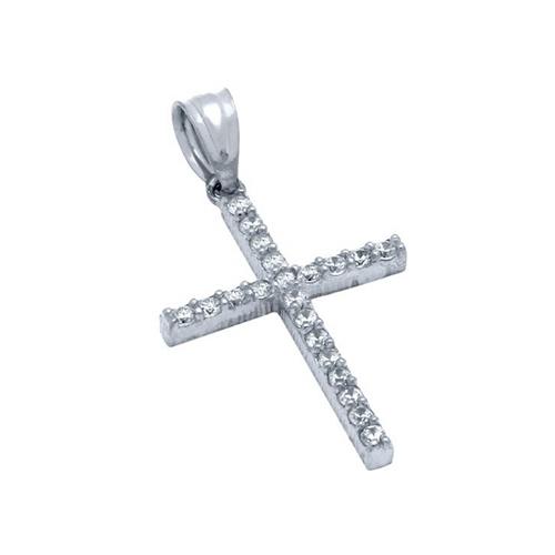 Pandantiv argint 925 rodiat cruce cu zirconii PSX0623 0