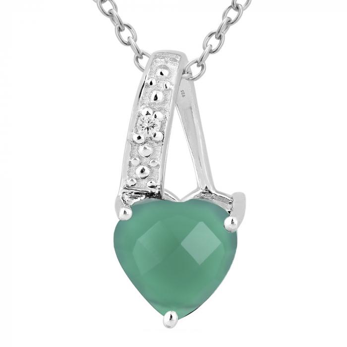 Pandantiv argint elegant cu inima de agata verde - PVA0015 [0]