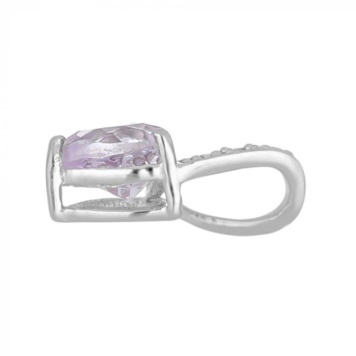 Pandantiv argint elegant cu inima de ametist roz si zirconii - PVA0016 1