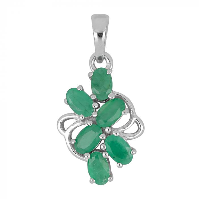 Pandantiv argint elegant cu smarald si zirconiu - PVA0017 0