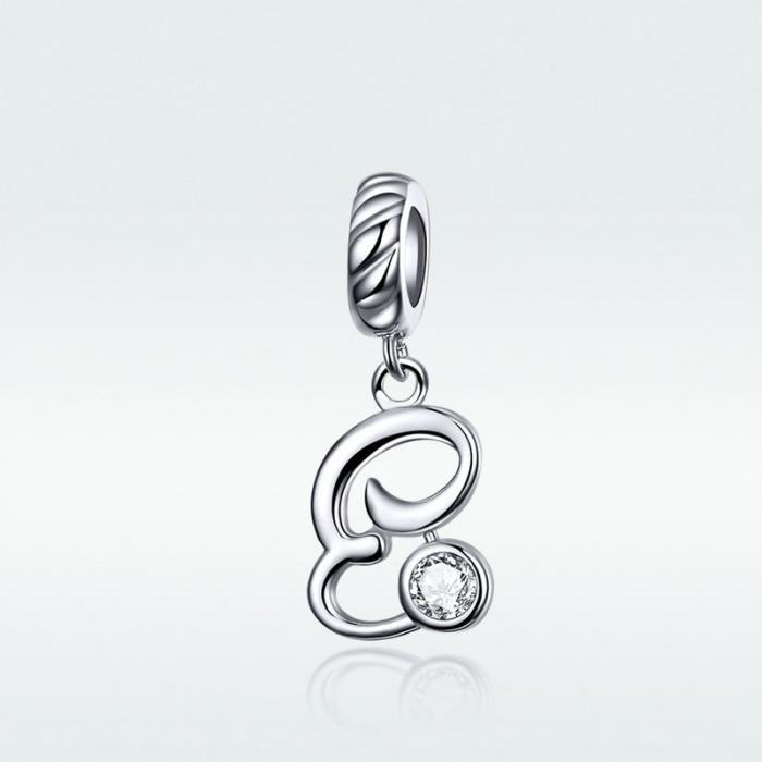 Pandantiv argint litera E cu zirconiu [1]
