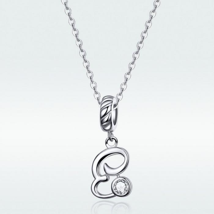 Pandantiv argint litera E cu zirconiu [3]