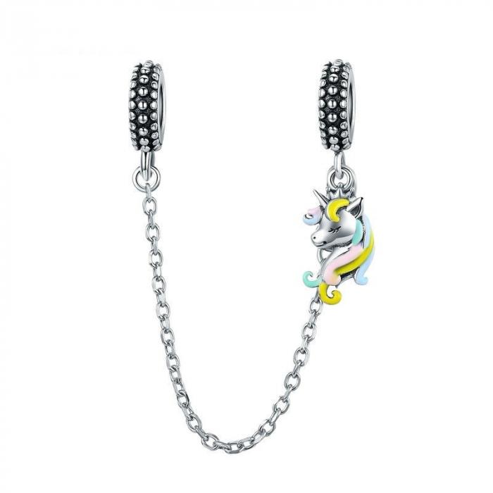 Pandantive argint unicorn cu lant de siguranta pentru bratara 0