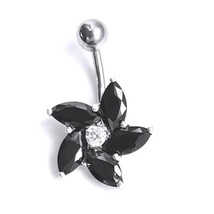Piercing pentru buric floare cu zirconii PIR0093 0