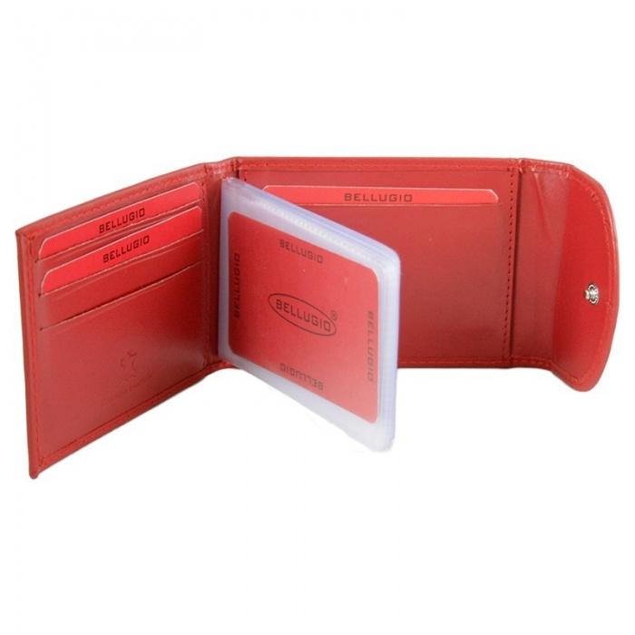 Portcard piele naturala Bellugio PCA25 Rosu 2