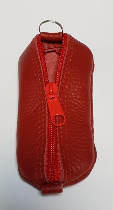 Portchei piele naturala Rosu pentru chei lungi PCH63 1