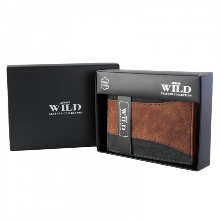 Portofel barbati din piele naturala Wild PORM560 Maron 7