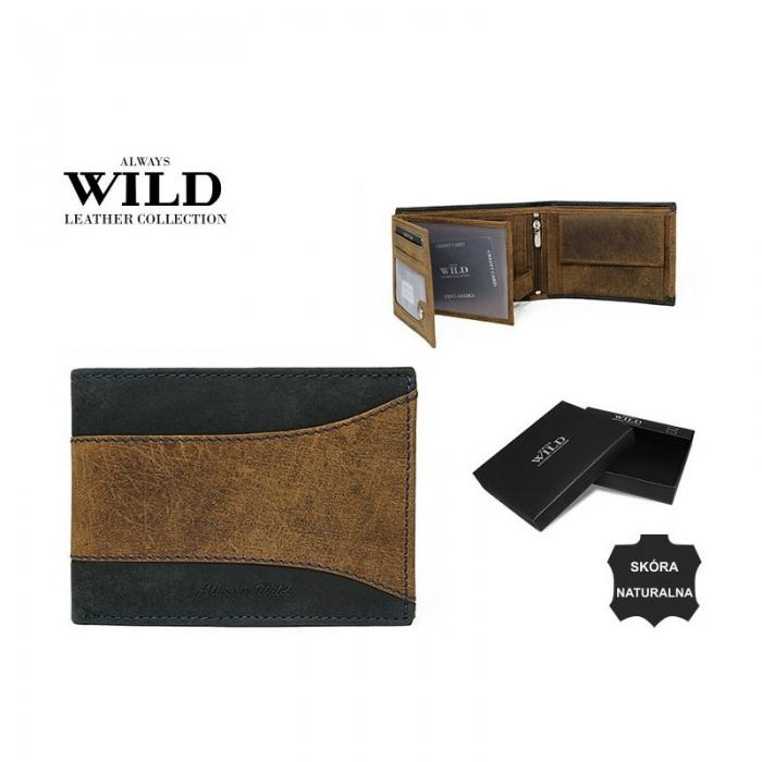 Portofel barbati din piele naturala Wild PORM560 Maron 8