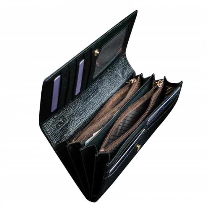 Portofel de lux pentru dama din piele naturala lacuita PORTG004, Negru 1